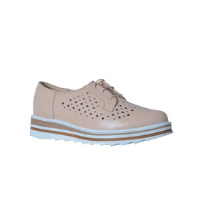 Zapato De Piel Casual Dina Rosa Dama