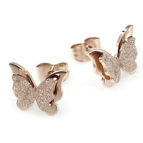 Aretes Mariposa Titanio + Baño Oro Rosado 18k + Envío Gratis