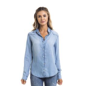 Camisa Feminina Solta Clara Denim Zero - Dz11122