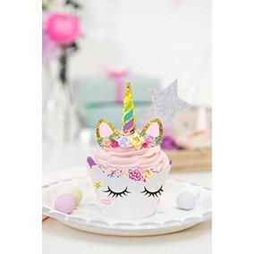 24 Toppers Cupcake Unicornio Pastel Palillo