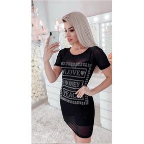Camiseta Minivest Vestido Tule Pedraria Love Money Peace 5bd2c6f03e08b