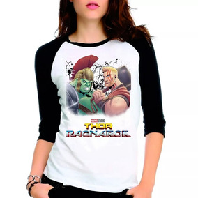 Camiseta Thor Ragnarok Marvel Hulk Raglan Babylook 3/4