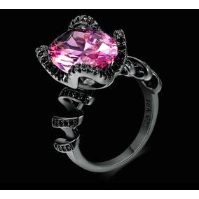 Anillo Compromiso Oro Negro 18k Y Diamante Rosa + Envio