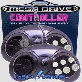 2 Controles Mega Drive Master System 6 Botões Cabo Longo Nfe