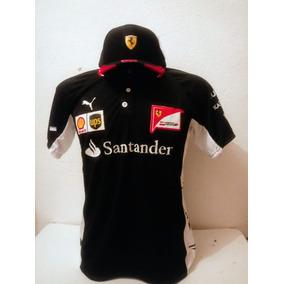 Kit Camiseta Pólo + Boné Santander Ferrari Preto Lançamento 6337958861d