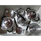 Batería De Cocina Niña Aluminio Grueso 9 Piezas Cocina Real