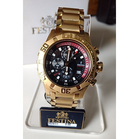 Festina F16287/1 Chrono Bike Gold Fundo Preto
