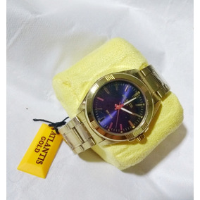 d53ad276db7 Relogios Atlantis Dourado Com Fundo Azul - Relógio Masculino no ...