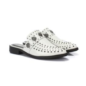 Sapato Mule Casual Tachas Verniz Feminino Not-me Branco