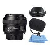 Lente Yongnuo 50mm F1.8 Para Nikon + Paño | Parasol | Bolso.