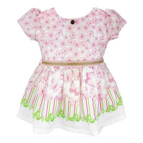 Vestido Infantil Matinée Borboletas Com Calcinha Rosa