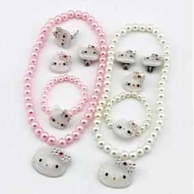 Juego Conjunto Hello Kitty Perlas Dije Aretes Anillo Niñas