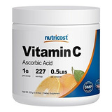 Polvo De Ácido Ascórbico Puro Nutricost (vitamina C) .5 Lbs