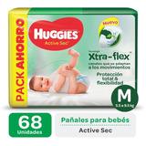 Pañales Huggies Active Sec Xtra-flex Promopack