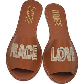 Sandalia Feminina Rasteira Rasteirinha Full Peace Love