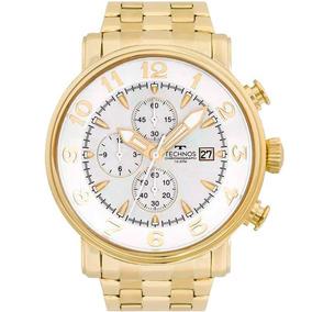 Relógio Technos Masculino Dourado Fundo Azul Os10cr/4a