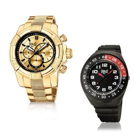 Relógio Everlast Masculino Dourado Analógico E648