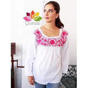 Blusa Blusón Mexicano Bordado Típico En Un Color