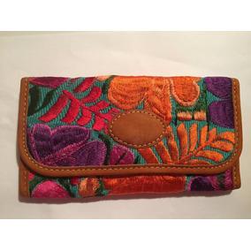 3 Carteras Artesanía Piel Y Textil Zinacantán Chiapas
