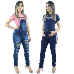 Kit De Macacão Jeans Feminino + Calça Jeans Faixa Lateral