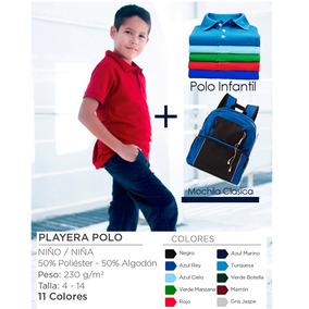Paquete 5 Playeras Polo + Mochila Escolar