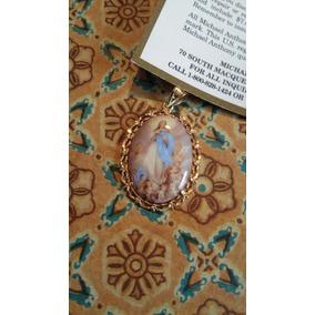 Medalla La Virgen Purisima Concepcion14 Kt Esmaltada