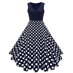 Elegante Vestido Flores Azul Marino Talle Alto Vintage