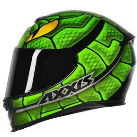 Capacete Moto Axxis Snake Preto Verde Lançamento