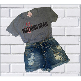 Roupa Feminina Baby Look The Walking Dead Camiseta Barato!