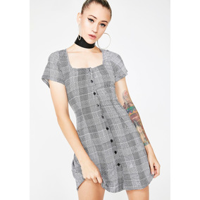 Deja Huella Mini Vestido Gris Con Diseño Clásico Shop 2019