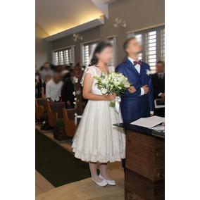 Vestido De Noiva Midi Bordado A Mão - Pó De Arroz