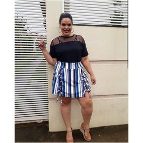 Shorts Saia Feminino Plus Size Listrado Coleção Nova
