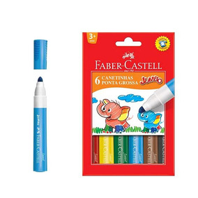 Canetinha Hidrocor Faber Castell Jumbo 6 Cores - 15.0206gzf