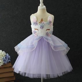 Vestido Con Diadema Unicornio Niña Niñas Fiesta Cumpleaños 6e5a03671485