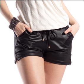 Short De Cirrê Couro Fake Hot Pants Metalizado Preço Baixo