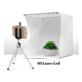 Mini Estúdio Fotografia Portátil 24cm 40 Leds+3 Cenários