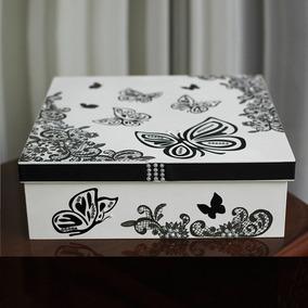 Caixa Decorativa Branca Borboleta Em Mdf