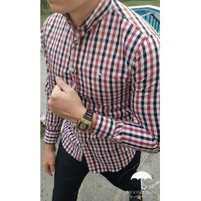 Camisa Slim Fit Blanca Cuadros Rojos Y Negros - Moon & Rain