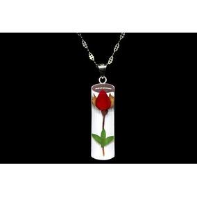 Joyería Con Flores Tami Plata .925 Dije Cilindro Con Rosa