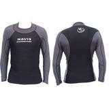 Camisa De Lycra Ml Proteção Uva   Uvb - Preto Com Cinza 55081451905e4