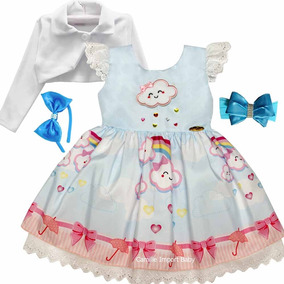 35e4c1d34029b Vestido Infantil Nuvem De Amor Chuva De Benção Tiara Bolero