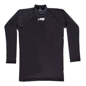 090478a6cc Camiseta Térmica Manga Larga Lycra Negra Adulto - Mgr Sport