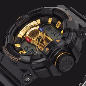 Relógio Pulso Digital Analógico Militar Sanda 599 Fundo Ouro