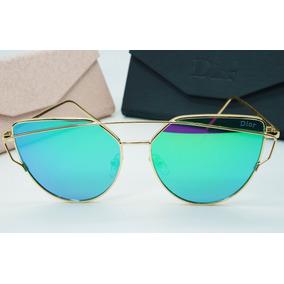 Óculos Espelhado Feminino Dourado Gato Gatinho Metal Redondo 87c74fb630