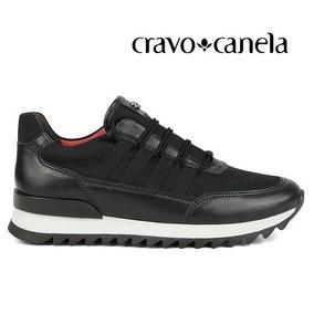 Tênis Jogging Cravo E Canela Casual Couro Preto 138710