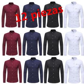 12pzs Mandarín Collar Faux Pecho Bolsillo Camisa