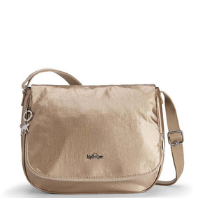 Bolsa Transversal Earthbeat M Bege Dusty Metal Kipling
