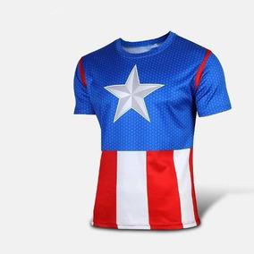 Camisa Camiseta Capitão América --azul C/ Vermelho