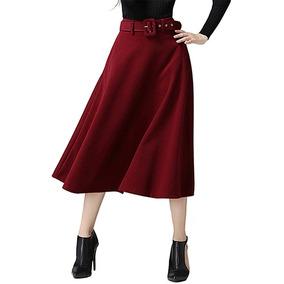 Falda Midi Para De Las Mujeres Con Bolsillo Cintura Alto Fal 9177ea8a9a5b