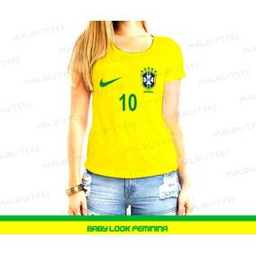 Camiseta Brasil Babylook Em Algodão Amarela Copa Do Mundo ... 9c057ab62bcc1